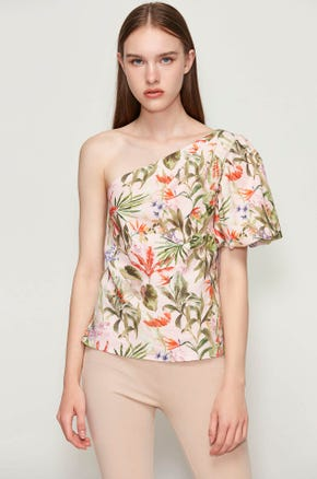 Tropical Island One Shoulder Blouse