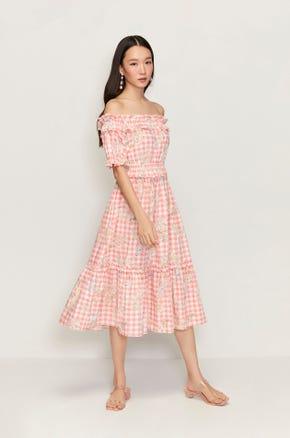 Floral Check Midi Dress