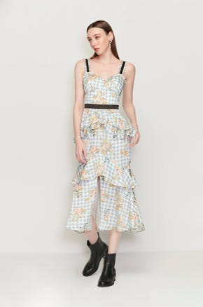 Floral Check Ruffle Dress
