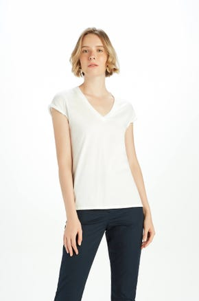 Roll Sleeve V-Neck T-Shirt