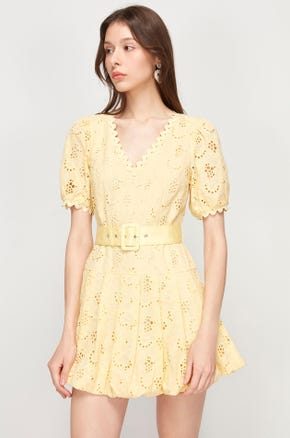 Yellow Eyelet Mini Dress