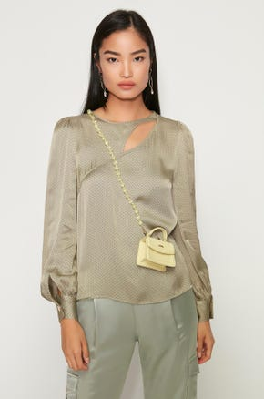Dotted Keyhole Blouse