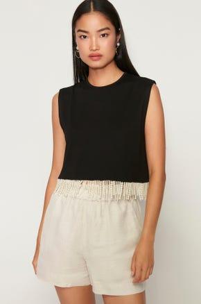 Sleeveless Fringe T-Shirt