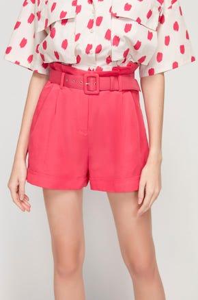 Pink Linen Paperbag Shorts