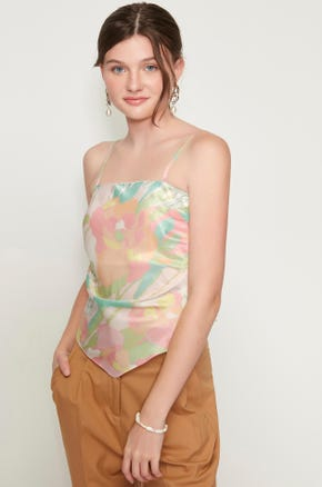 Shirred Floral Camisole