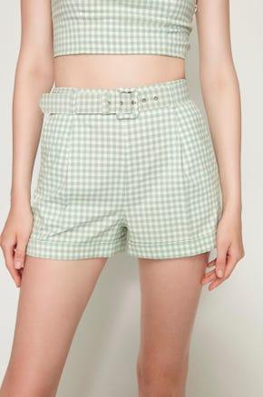 Green Gingham Shorts