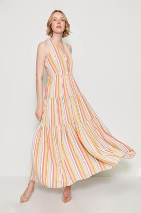 Striped Criss Cross Maxi Dress