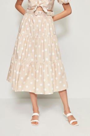 Belted Polka Dot Midi Skirt