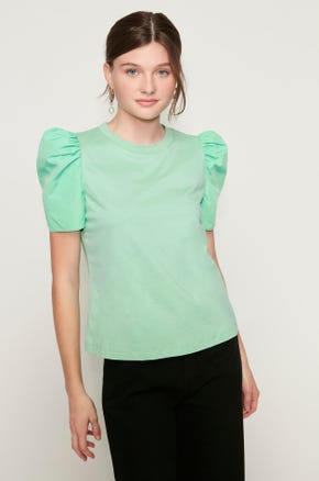 Mixed Puff Sleeve T-Shirt