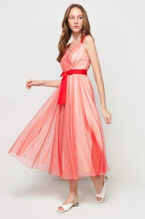 Red Overlay Midi Dress