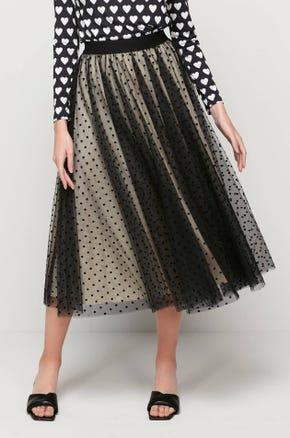Pleated Polka Dot Midi Skirt