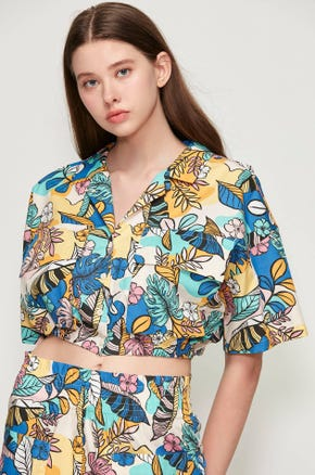 Tropical Drawstring Resort Shirt