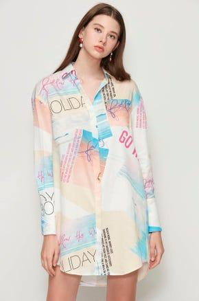 Photo Print Shirt Dress