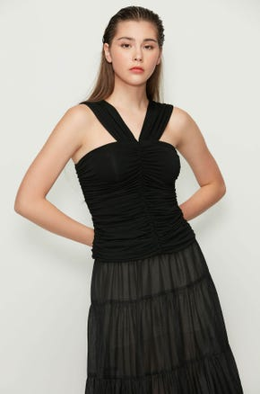 Sleeveless Ruched Blouse
