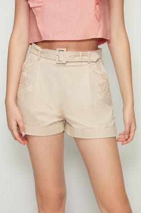 Belted Embroidered Shorts