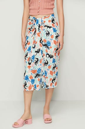 Draped Mermaid Print Skirt