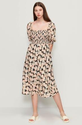 Seashell Print Midi Dress