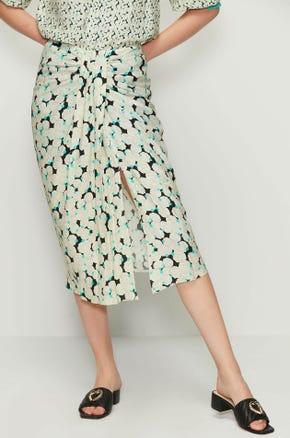 Draped Seashell Print Skirt