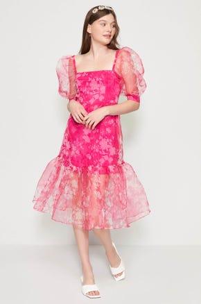 Sheer Floral Midi Dress