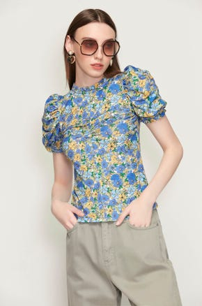 Ruched Blue Floral T-Shirt