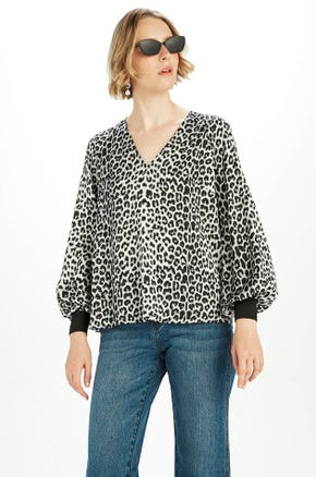 Printed Puff Sleeve Blouse