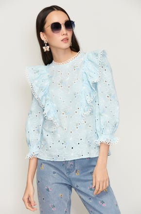 Floral Eyelet Ruffle Blouse