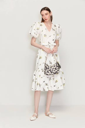 Embroidered White Floral Midi Dress