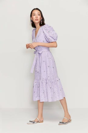 Purple Eyelet Midi Dress