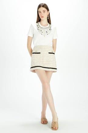 Beige Tweed Mini Skirt
