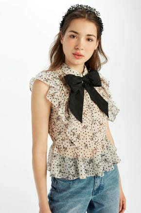 Bow Tie Ruffle Blouse