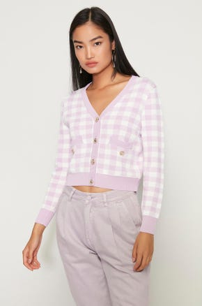 Purple Check Cardigan