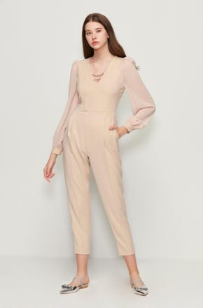 Long Sleeve Cropped Jumpsuit