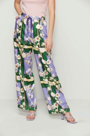 Graphic Floral Drawstring Pants