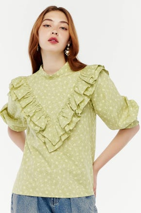 Floral Statement Ruffle Blouse