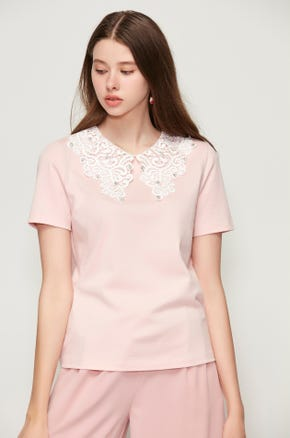 Pink Statement Collar T-Shirt