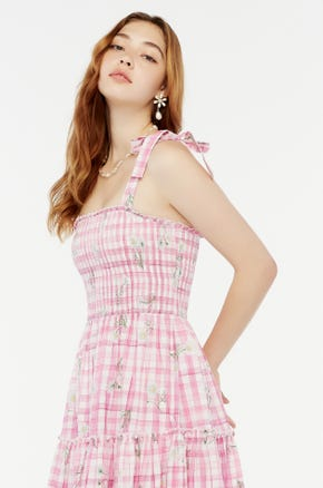 Pink Plaid Midi Dress