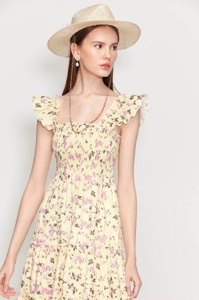 Wing Ruffle Midi Dress