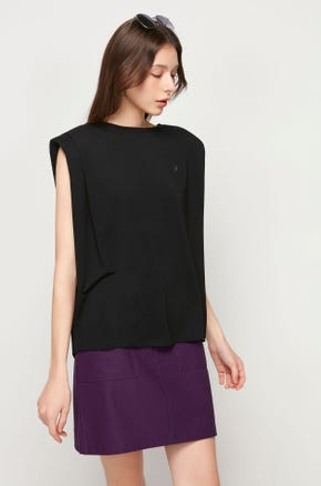 Sleeveless Shoulder Pad T-Shirt