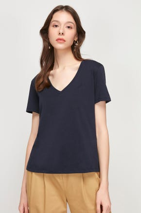 Pima Cotton V-Neck T-Shirt - Navy