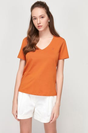 Pima Cotton V-Neck T-Shirt - Orange