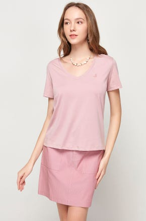 Pima Cotton V-Neck T-Shirt - Pink