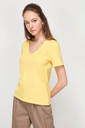 Pima Cotton V-Neck T-Shirt - Yellow