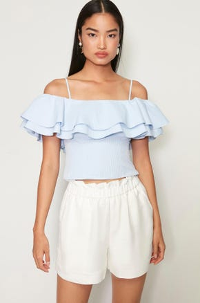 Blue Ruffle Trim Top