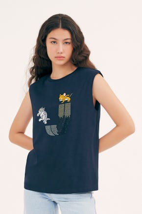 Navy Tom and Jerry Shoulder Pad T-Shirt