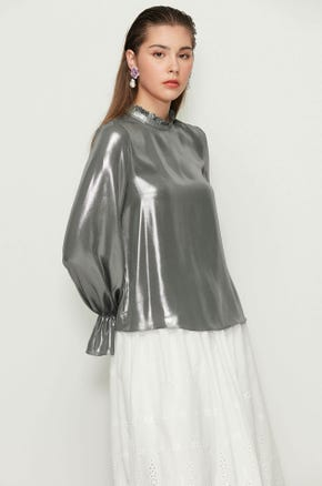 Metallic Puff Sleeve Blouse
