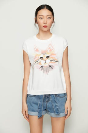 Embroidered Cat Sweatshirt T-Shirt