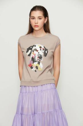 Embroidered Dog Sweatshirt T-Shirt