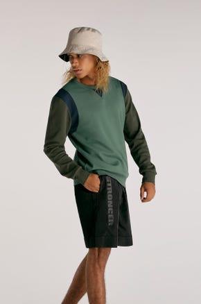 Green Color Block Sweatshirt