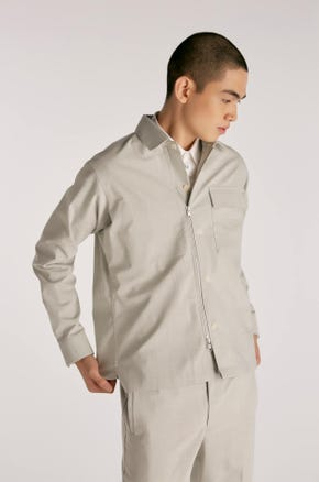 Grey Twill Zip Shacket