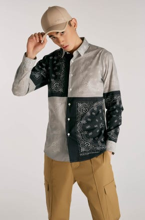 Color Block Paisley Shirt